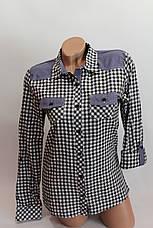 Женские рубашки в клетку джинс KL. оптом VSA черн.+бел. мелк., фото 3