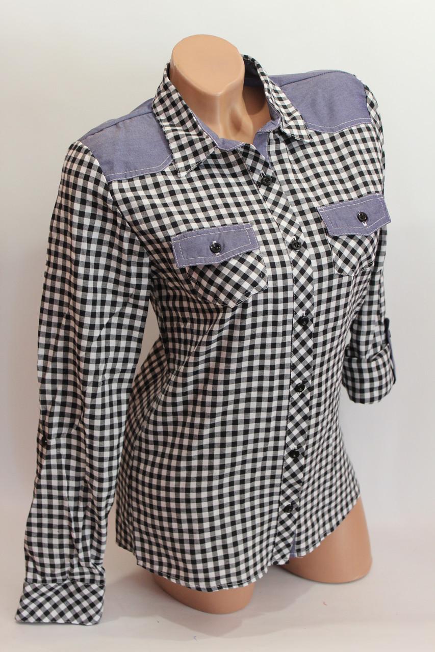 Женские рубашки в клетку джинс KL. оптом VSA черн.+бел. мелк.