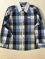 """Детская рубашка с длинным рукавом """"клетка"""",для мальчика (рост 140-152-164-176)"""