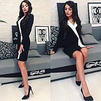 Короткое черно-белое платье (Размер С М Л)