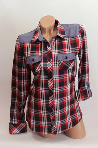 Женские рубашки в клетку джинс KL. оптом VSA красный.+т.син.+бел.+полос., фото 2
