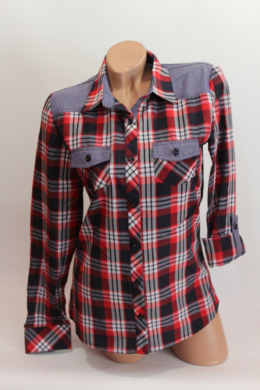 Женские рубашки в клетку джинс KL. оптом VSA красный.+т.син.+бел.+полос.