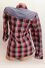 Женские рубашки в клетку джинс KL. оптом VSA красный.+т.син.+бел.+полос., фото 3