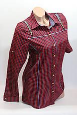 Женские рубашки в клетку удлиненные RAM. оптом VSA красный.+т.син. , фото 2