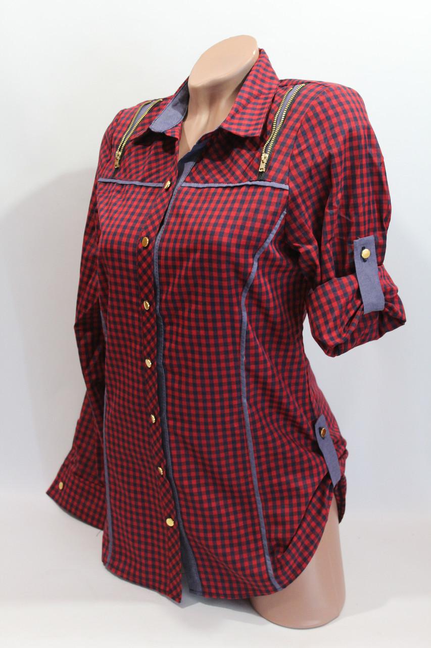 Женские рубашки в клетку удлиненные RAM. оптом VSA красный.+т.син.
