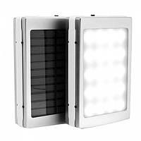 Портативная зарядка Power Bank 30000 mah на солнечной батарее со светодиодной панелью 2 USB порта