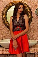Атласное женское белье пеньюар с кружевом Красный