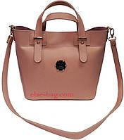 Женская сумка из эко кожи в виде корзинки пудра, фото 1