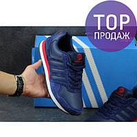 Мужские кроссовки Adidas Neo, замша + пресс кожа, темно синие с красным / кроссовки мужские Адидас Нео, модные