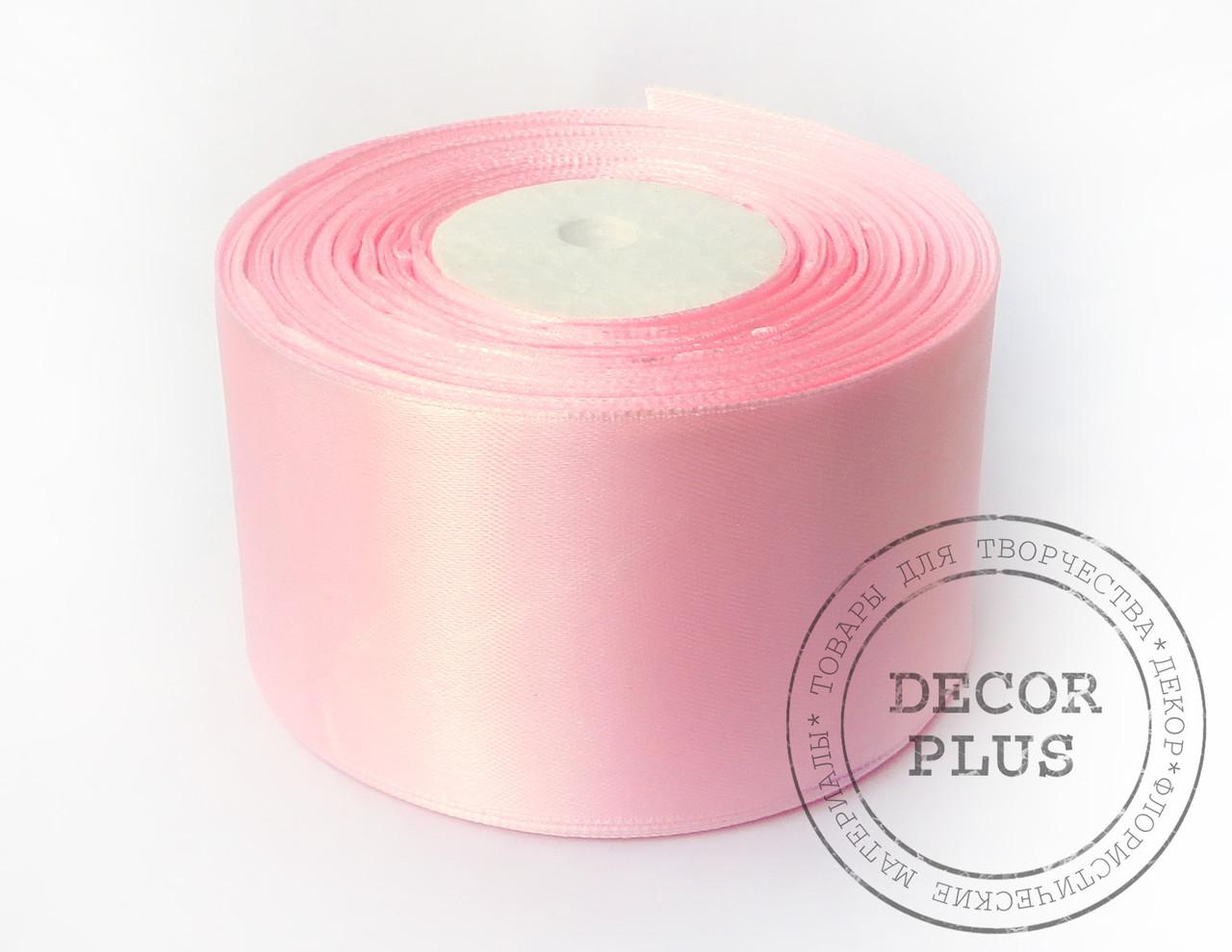 Лента атласная 5см, светло-розовая