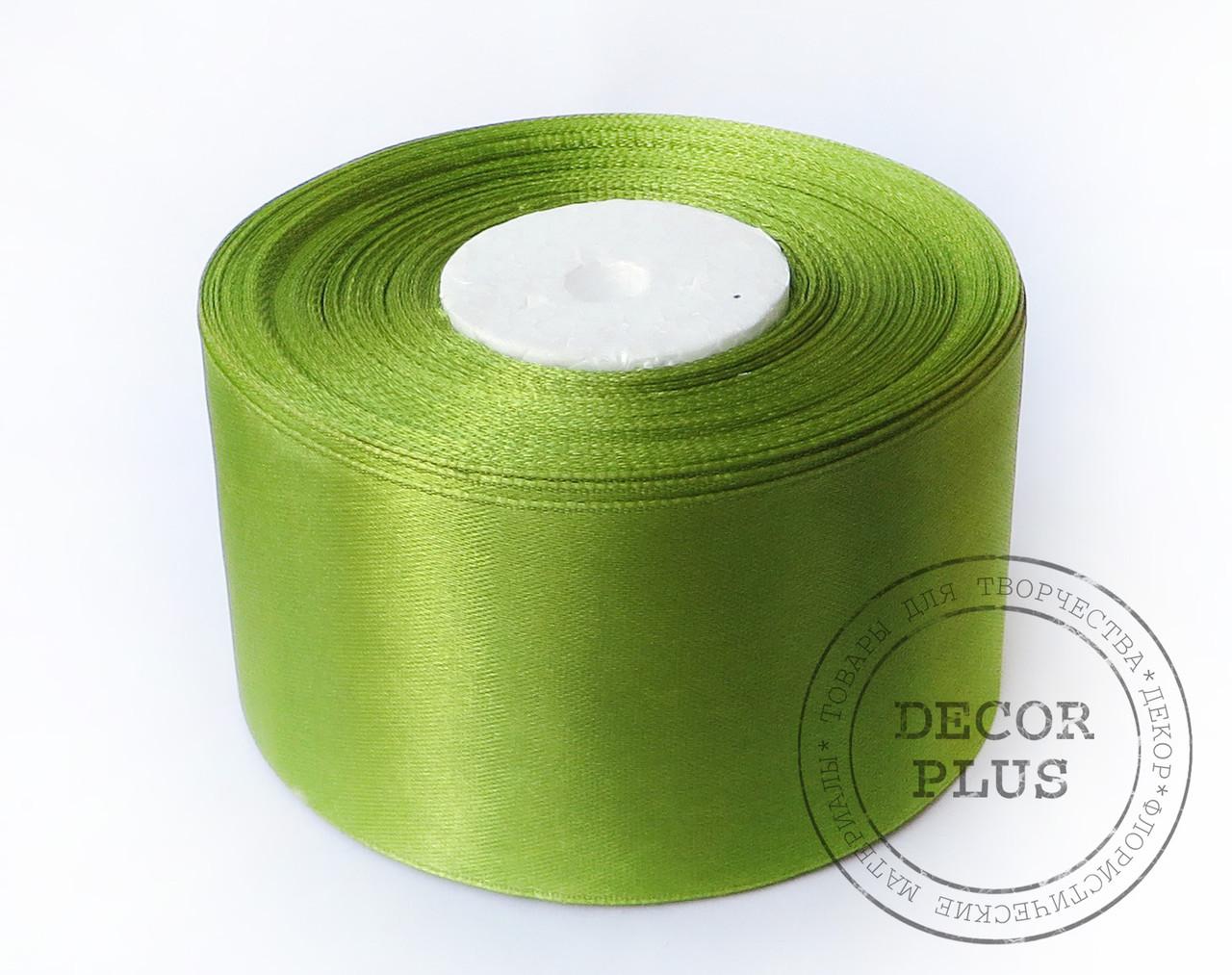 Лента атласная 5см, травяная