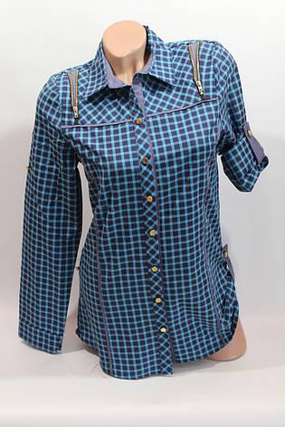 Женские рубашки в клетку удлиненные RAM. оптом VSA бирюза+ т.син., фото 2