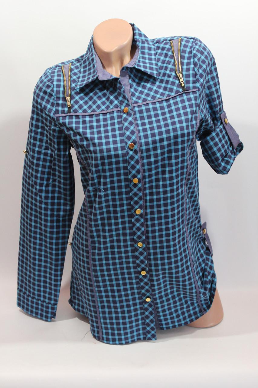 Женские рубашки в клетку удлиненные RAM. оптом VSA бирюза+ т.син.