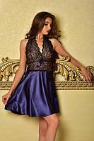 Одежда для сна из атласа пеньюар с кружевом Синий