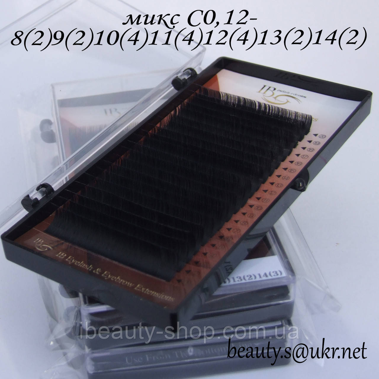 Ресницы I-Beauty микс С-0,12 8-14мм