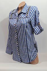 Женские рубашки в клетку удлиненные RAM. оптом VSA голубой+бел.