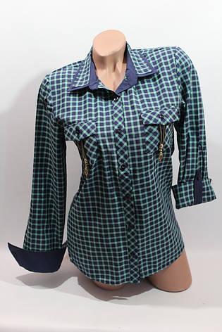 Женские рубашки в клетку замок карм. оптом VSA т.син.+зелен., фото 2