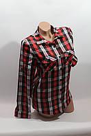 Женские рубашки в клетку оптом VSA черн.-красный+полоска 093fe7642d77c