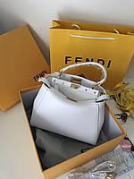 Стильная женская сумка FENDI PEEKABOO белая