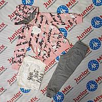 Трикотажный спортивный детский костюм для девочек тройка оптом  WWB