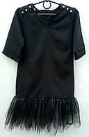 Платье школьное детское, низ - капроновая оборка, р 128-158, черное