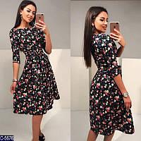 Платье женское миди джинс - катон синее и черное Цветы