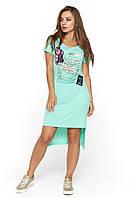 Мятное молодежное платье Картона
