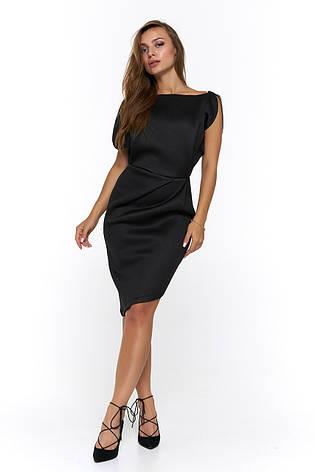 Вечернее короткое платье из неопрена Альта черное, фото 2