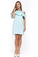 Хлопковое платье с воланом Асти голубое
