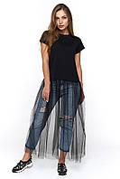 Модная футболка с длинной сеткой Генуя черная