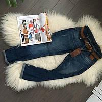 Женские джинсы бойфренды полубатал Турция с ремнем