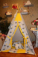 """Детский игровой домик, вигвам, палатка, шатер, шалаш """"Желтые слоны"""", фото 1"""