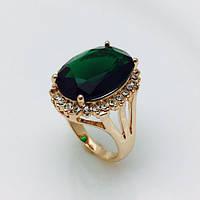 Перстень женский богатый с зеленым камнем, размер 16, 17, 18, 19