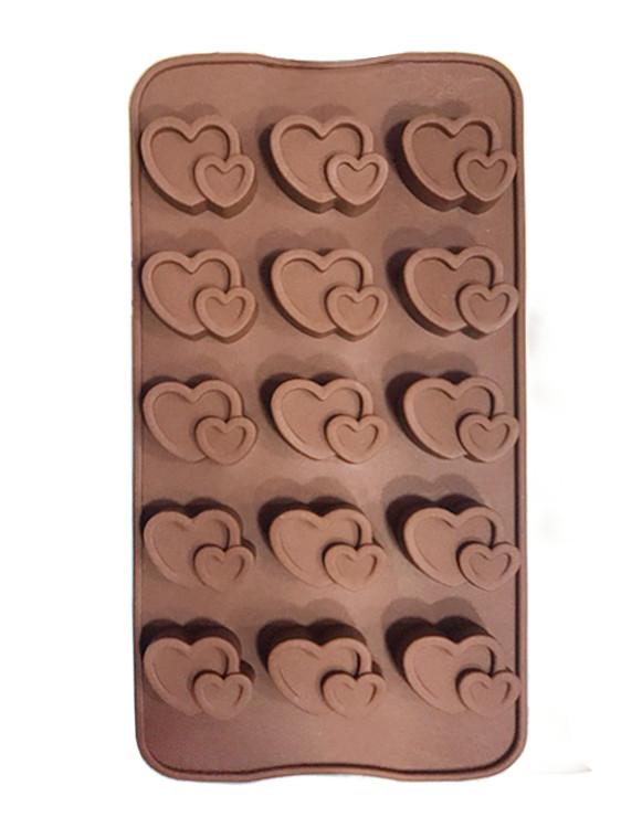 Форма силиконовая для  конфет Сердечки двойные 15 шт