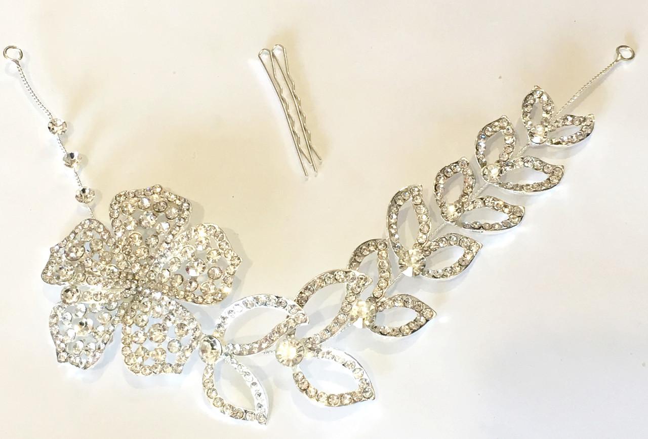 Свадебная ветка, украшение для волос большой цветок и листья
