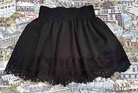 Детская юбка с французским гипюром р.116-134 чёрный