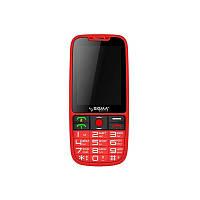 Телефон кнопочный с большим экраном бабушкофон Sigma Comfort 50 Elegance красный