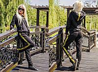 Моодный, женский, спортивный костюм штаны +  кофта с капюшоном (двухнитка, яркие ленты) 42-60р