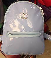 Рюкзак женский из экокожи голубой