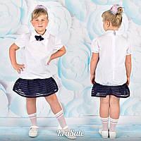 Школьная белая блуза короткий рукав с бабочкой низ резинка