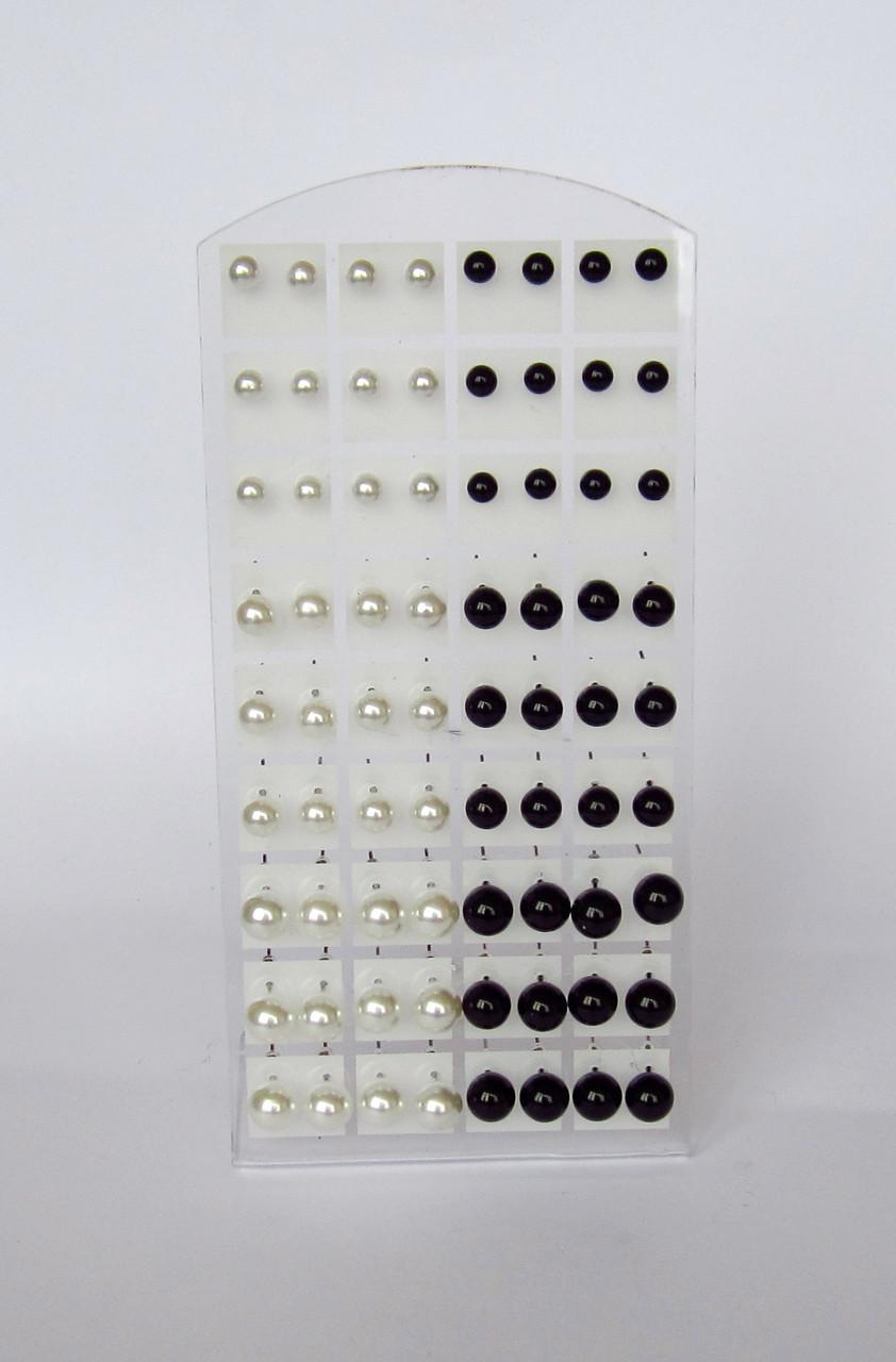 Серьги гвоздики под жемчуг черные и белые,по возрастанию от малого к большому.