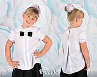 Школьная белая блуза короткий рукав отложной воротник