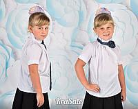 Школьная белая блуза короткий рукав воротник стойка