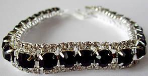 Браслет со стразами,камни Swarovski капелька в черном