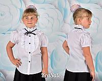 Школьная белая блуза короткий рукав с жабо воротник стойка
