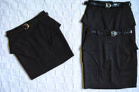 Элегантная школьная юбка с вышивкой и пояском