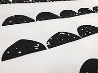 Хлопковая ткань Полукруги черные на белом