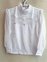 Детская школьная блуза с фигурной вставкой р 6-12, белая