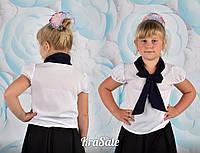 Школьная белая блуза короткий рукав с черным бантом креп-шифон