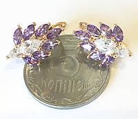 Серьги Семицветик фиолетовый, английский замок